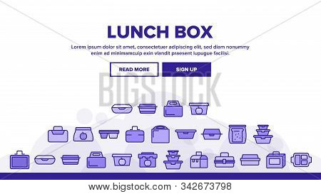 Lunch Box Landing Web Page Header Banner Template Vector. Plastic School Lunch Box And Container For