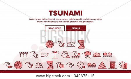 Tsunami Wave Landing Web Page Header Banner Template Vector. Broken House And Flooded Building, Boat