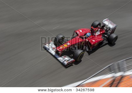 VALENCIA, SPAIN - JUNE 24: Fernando Alonso in the Formula 1 Grand Prix of Europe, Valencia Street Circuit. Spain on June 24, 2012