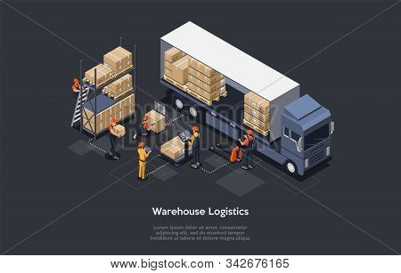 Isometric Warehouse Logistics Concept. Modern Interior Of Warehouse, Loading And Unloading Process O