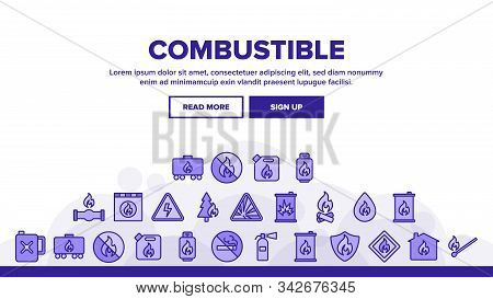 Combustible Products Landing Web Page Header Banner Template Vector. Burning Gaz From Pipe, Flame On
