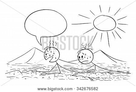 Vector Cartoon Stick Figure Drawing Conceptual Illustration Of Two Men, Tourists Or Travelers Creepi