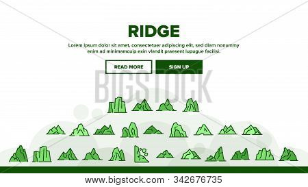 Ridge Different Form Landing Web Page Header Banner Template Vector. Ridge Peak Climbs For Extreme S