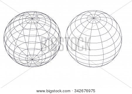 Two Terrestrial Globes Isolated On A White Background