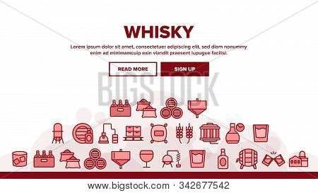 Whisky Alcoholic Drink Landing Web Page Header Banner Template Vector. Bottle And Wooden Barrel Whis