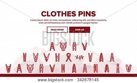 Clothes Pins Fasteners Landing Web Page Header Banner Template Vector. Wooden And Plastic Clothes Pi