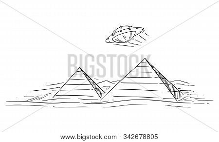 Vector Cartoon Drawing Or Illustration Of Ufo Or Unidentified Flying Object Or Alien Or Extraterrest