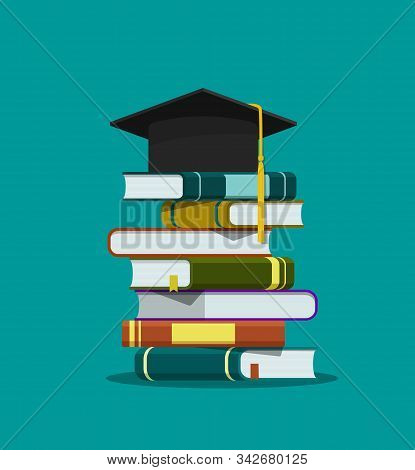 Stack Of Books, Graduation Cap. Education Concept. Graduation Hat On Pile Of Book On Isolated Backgr
