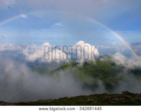 Picturesque And Magic Landscape Of Carpathian Mountains With Rainbow Over Them. Heaven Kitchen Prepa