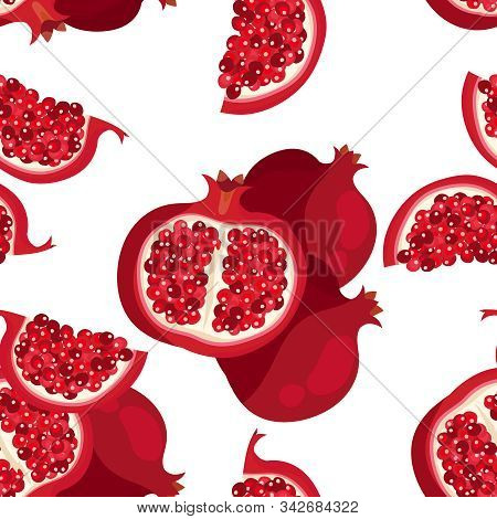 Pomegranate; Pattern; Seamless; Vector; Background; Fruit; Red; Food; Illustration; Fresh; Design; A