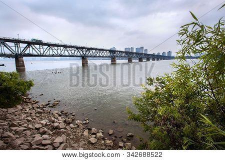 Hangzhou, China - Oct 5, 2018 - The Qiantang River Bridge Crosses The Qiantang River In Hangzhou, Ch