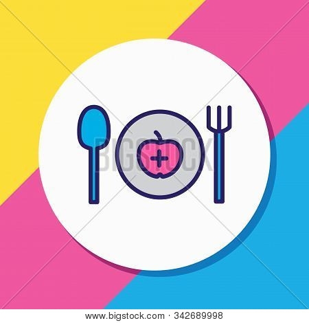 Vector Illustration Of Healthy Food Icon Colored Line. Beautiful Entertainment Element Also Can Be U