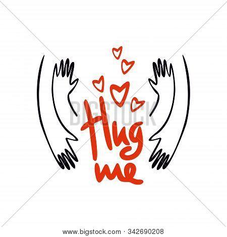 Hug Me. Happy Hug Day. Vector Illustration Of A Banner For National Hug Day.