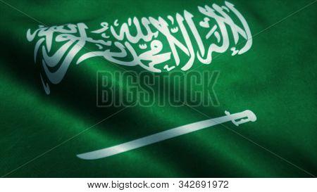 Flag Of Saudi Arabia - High Resolution Flag Of Kingdom Of Saudi Arabia, Evolving In The Wind. 3d Ill