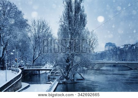 Flooded River Embarkment In Paris After Snowfall