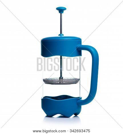 French Press Teapot On White Background Isolation
