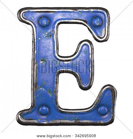 Uppercase letter E made of painted metal with blue rivets on white background. 3d rendering