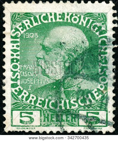 Vintage Stamp Printed In Austria 1908 Shows 60Th Anniversary Of The Reign Of Emperor Franz Josef,i