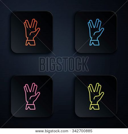Color Neon Line Vulcan Salute Icon Isolated On Black Background. Hand With Vulcan Greet. Spock Symbo