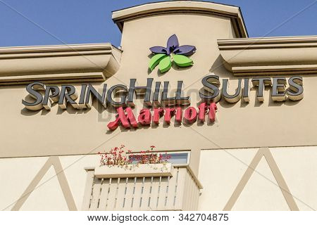 Frankenmuth, Michigan, Usa - October 9, 2018: Sign For The Springhill Suites Of The Marriott Hotel C