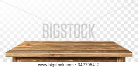 Wooden Table Top With Aged Surface, Realistic Vector Illustration. Vintage Dining Table Made Of Dark