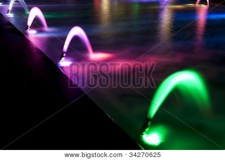 Dancing Multi Colored fountain at dark night