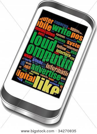 Smart Phone iphone With Application Icons And Social Media Words