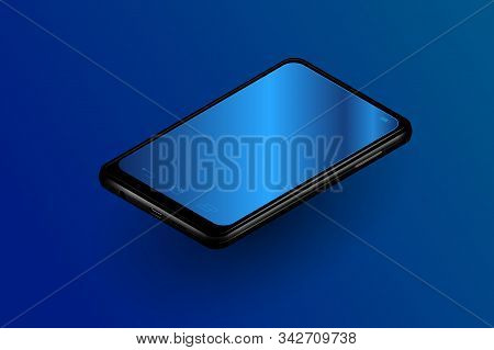 Isometric Realistic Smartphone With Empty Blank Screens Vector Grid. Mobile App User Interface Ui Co
