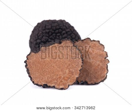 Black Truffles Isolated On A White Background. Fresh Sliced Truffle. Delicacy Exclusive Truffle Mush