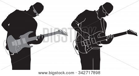Silhouette Of Musician Guitarist Plying On Electric Guitar
