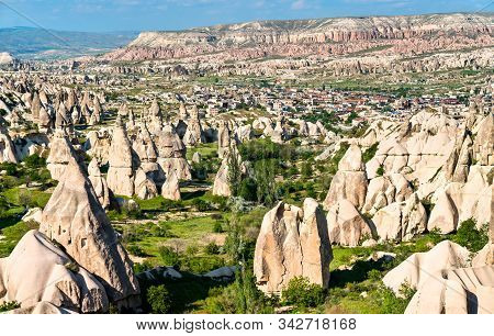 Fairy Chimney Rock Formations Of Goreme Valley In Cappadocia, Turkey