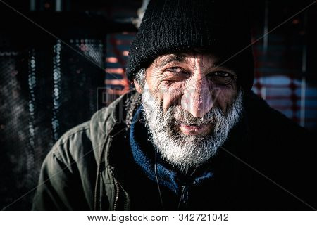Smiling Homeless Man, Close Up Portrait Of Old Smiling Homeless Alcoholic Man Face With White Beard