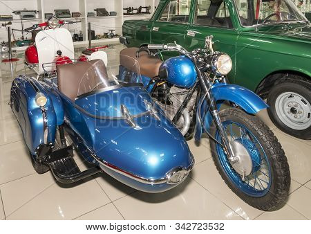 Kamensk-shakhtinsky, Russia-august 17, 2019: Izh- Planet- Motorcycle With Sidecar- In The Museum Of