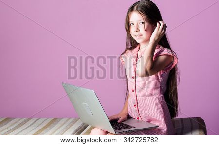 Child Study Online. E Learning At Private Lesson. Small Girl Pupil With Laptop. Home Schooling. 4g I