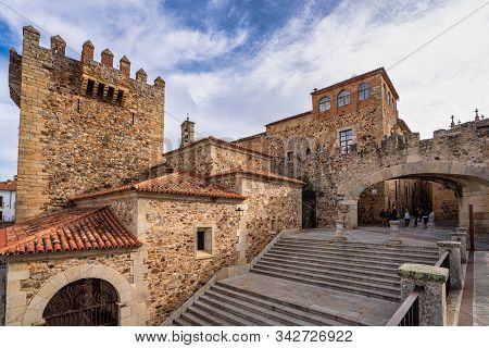 Caceres, Spain - November 09, 2019: Bujaco Tower, Torre De Bujaco In Caceres Main Square, Extremadur