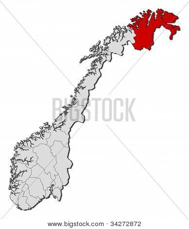 Political map of Norway with the several counties where Finnmark is highlighted. poster