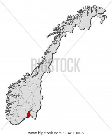 Political map of Norway with the several counties where Vestfold is highlighted. poster