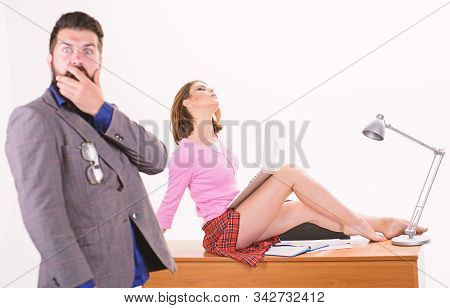 Nothing Personal Its Just Business. Sensual Personal Assistant Relaxing On Desktop In Front Of Shock