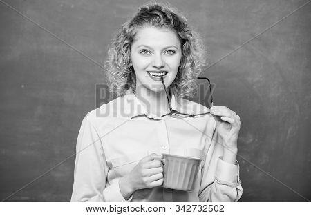 Peaceful Morning. Good Morning. Girl Refreshing With Tea Drink. School Teacher Need Coffee Break. Wo