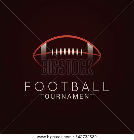 American Football. Ball Tournament Logo On Black