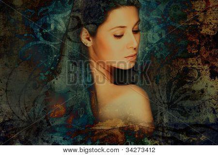 sensual fantasy woman portrait, photo compilation