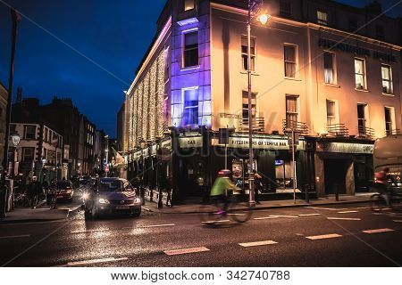 Dublin, Ireland - February 12, 2019: Night Street Atmosphere In The Streets Of The Historic Center W