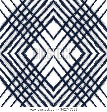 Ocean Tie Dye Vector Seamless Pattern. Blue Trendy Chevron Indonesian Print. Indigo Carpet Repeat De