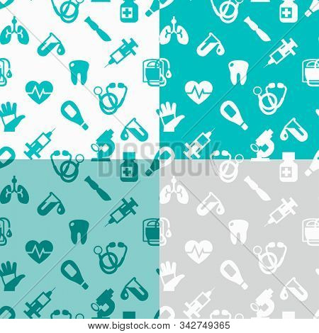 Medical seamless patterns, clinic vector illustration. Hospital thin line icons - thermometer, check up, diagnostic, microscope, stethoscope. Cute repeated texture business presentation.