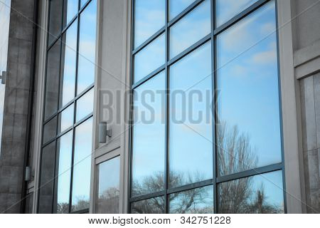 New Modern Building With Tinted Windows Outdoors