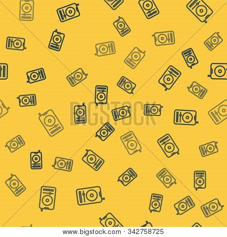Blue Line Music Player Icon Isolated Seamless Pattern On Yellow Background. Portable Music Device. V