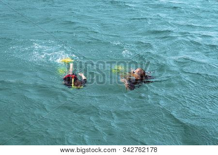 Yeppoon, Queensland, Australia - December 2019: A Father And Son Snorkeling Over A Coral Reef Near G