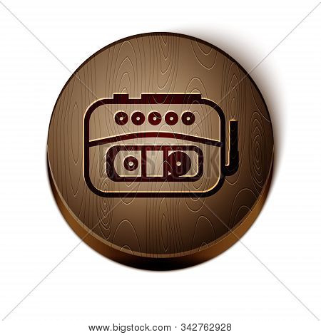 Brown Line Music Tape Player Icon Isolated On White Background. Portable Music Device. Wooden Circle