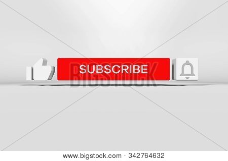 Subscribe Button With Bell. Three-dimensional Subscribe And Notification Icon On Red Color. Like Thu