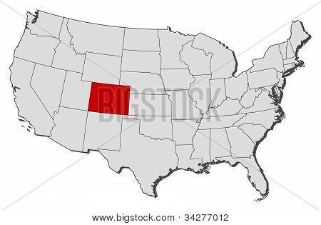Karta över USA, Colorado belyst